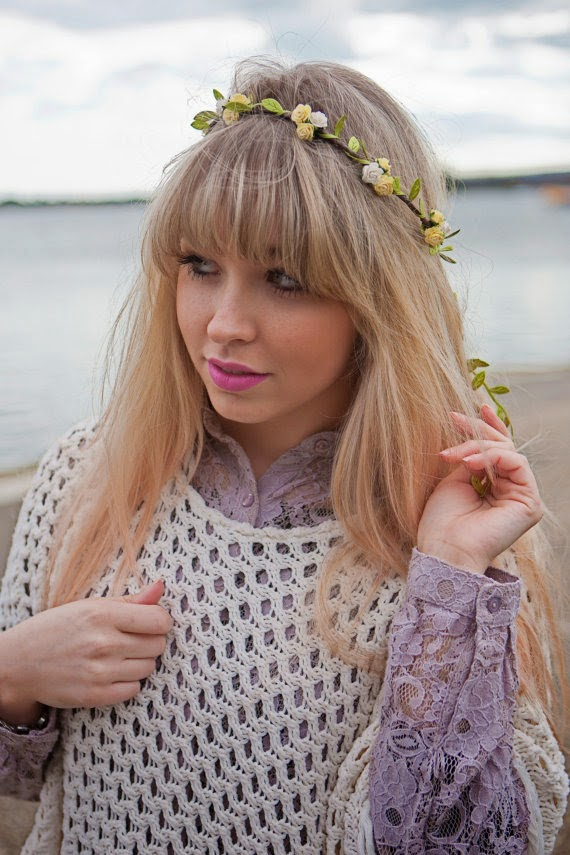 yellow and white flower crown