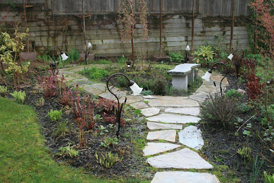 Garden path in early spring