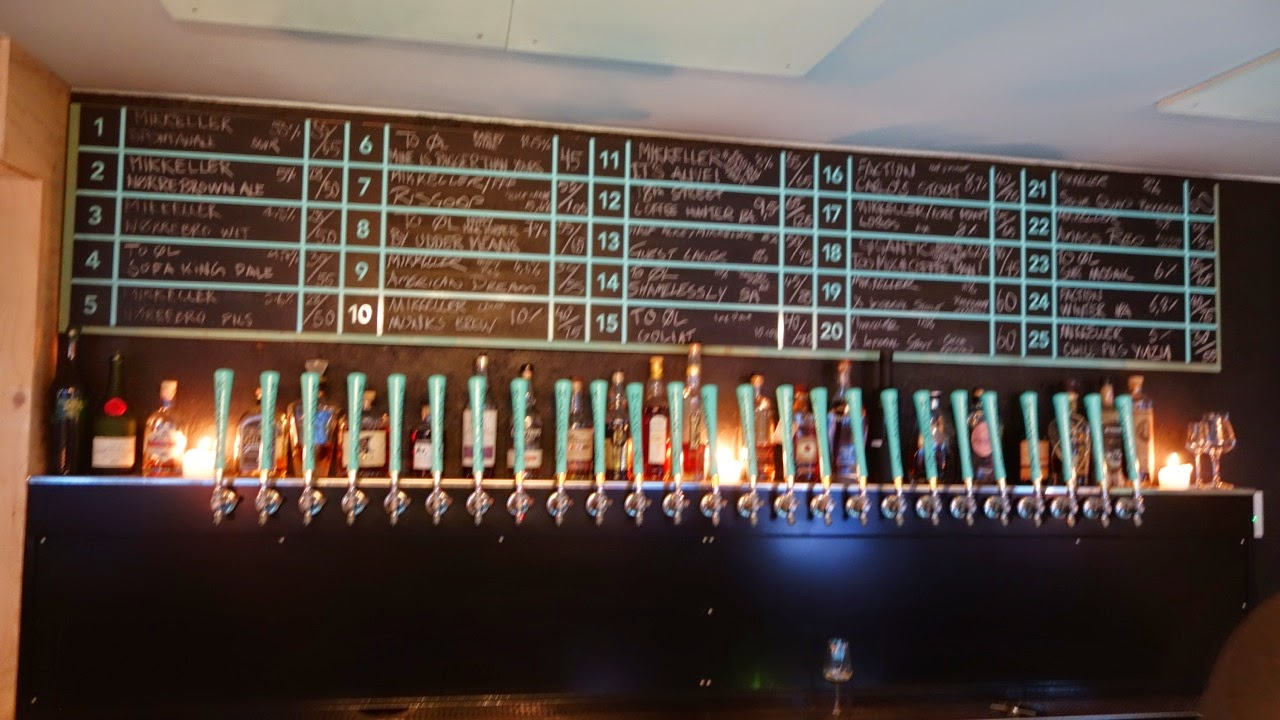 the turquoise lighting and color scheme would get to me after a while but i could stand it for a beer or two amager bryghus lighting set