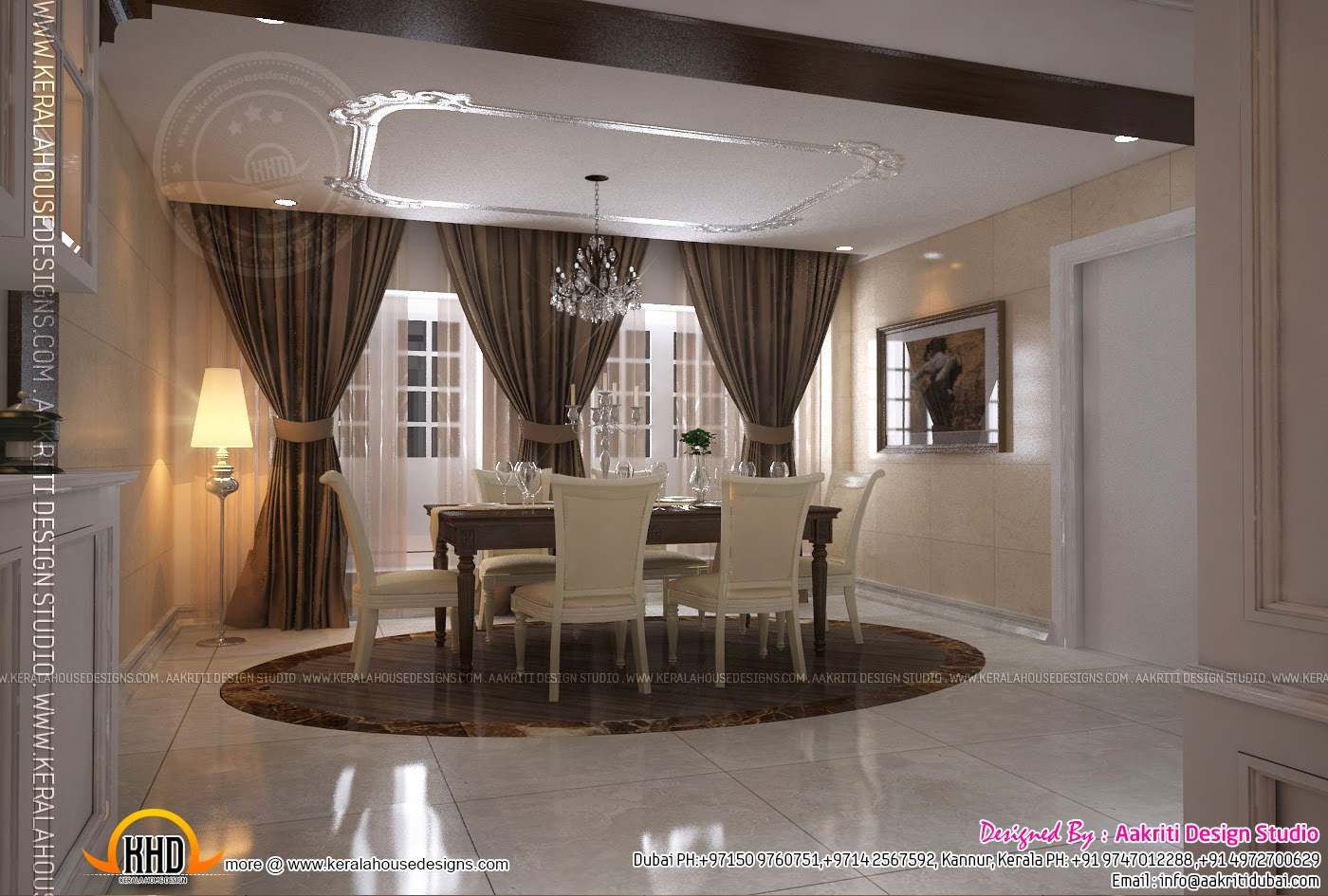 Interior design of living room dining room and kitchen for Living room interior in kerala