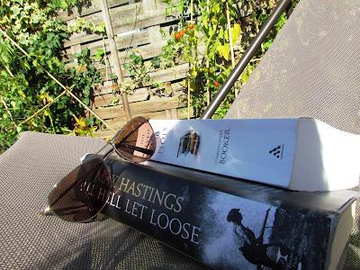 deckchair, Max Hastings, sunglasses, reading, garden, books
