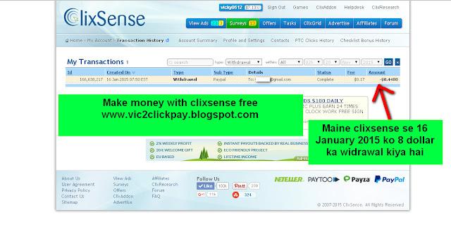 Maine 16 January 2015 ko Clixsense se 8 dollar ka widrawal paypal ke dwara kiya hai-see screenshot