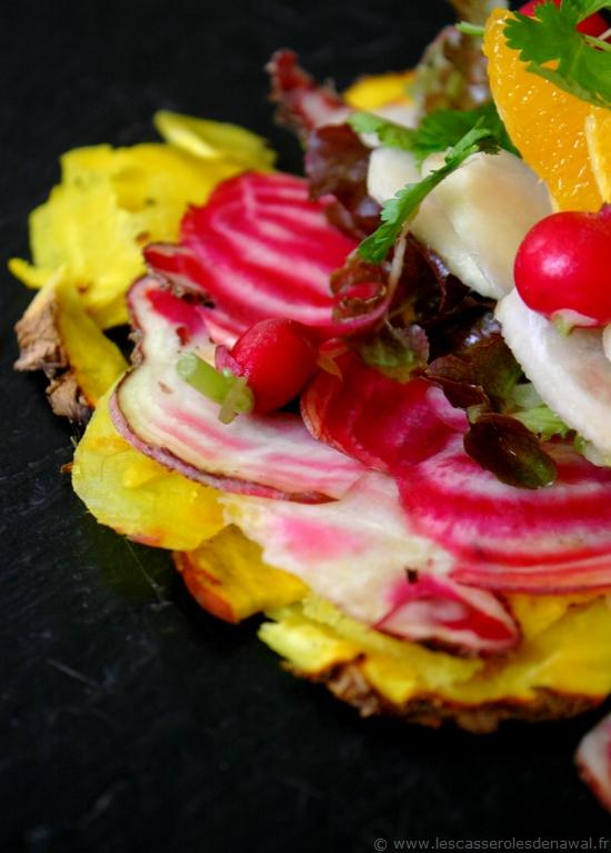 Les casseroles de nawal faux carpaccio de l gumes de jo l - Comment cuisiner les feuilles de betterave rouge ...