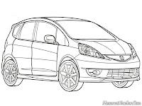Mewarnai Gambar Mobil Honda Fit Sport