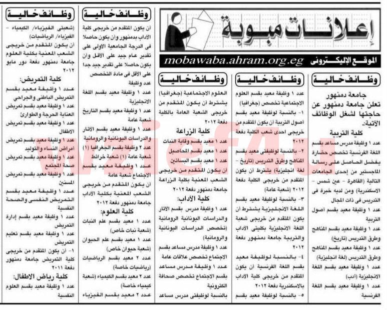 وظائف جريدة الأهرام السبت 30 مارس 2013 -وظائف مصر السبت 30-03-2013
