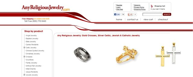 Cross Jewelry at AnyReligiousJewelry.com