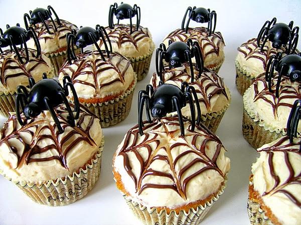 Elegant spider web Halloween cupcakes