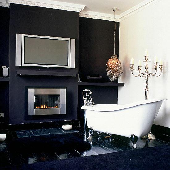 Baños Elegantes Blancos:Black and White Bathroom