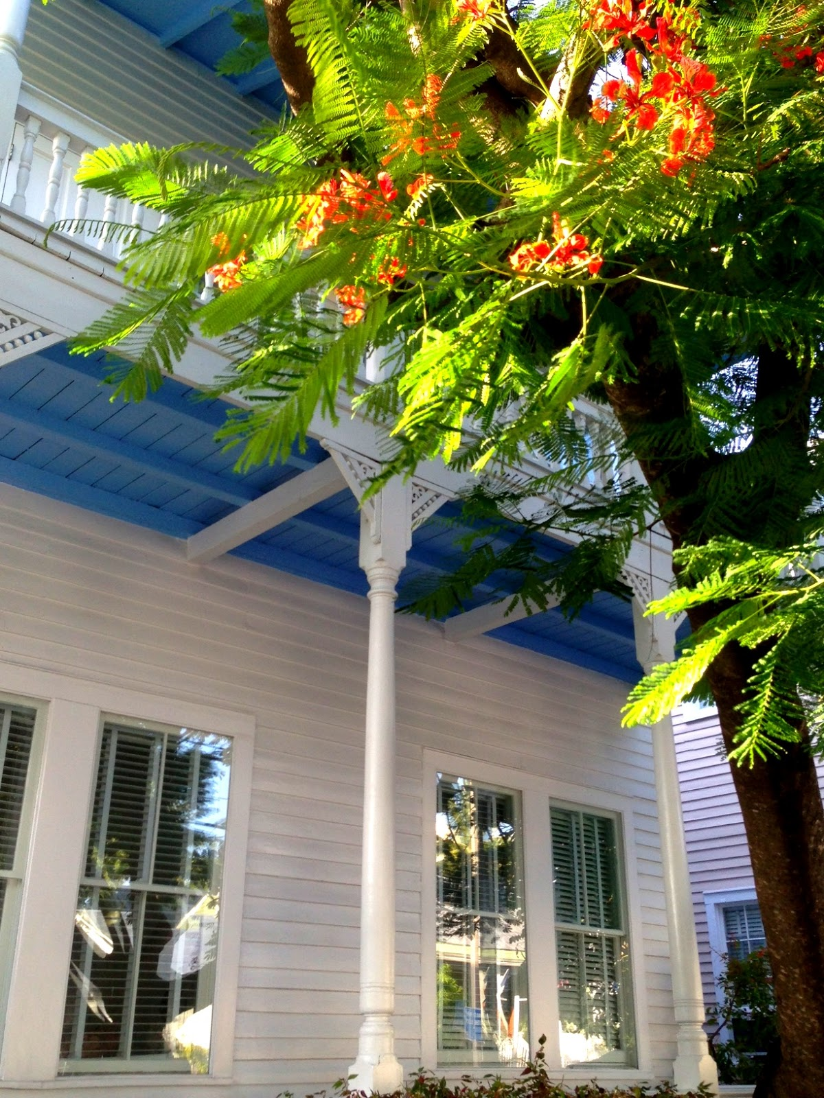 Both Upper And Lower Porch Ceilings Are Painted Blue In This Old Town Key  West Home, Providing Dramatic Contrast (and Maybe Even Protection From  Ghosts!)