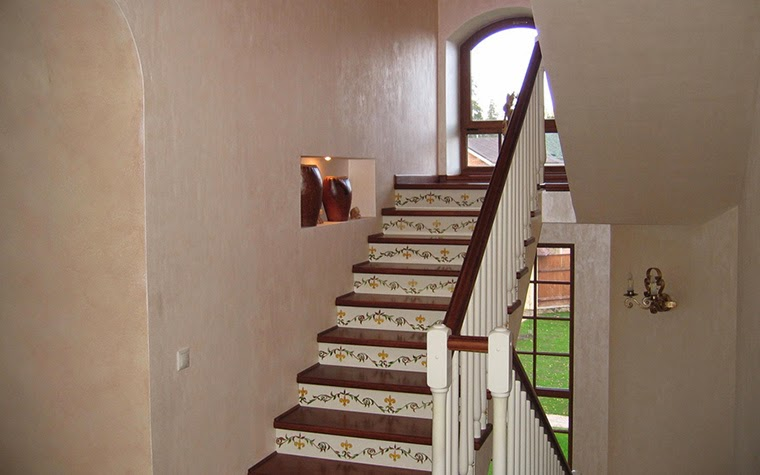 wooden stairs with decorating risers