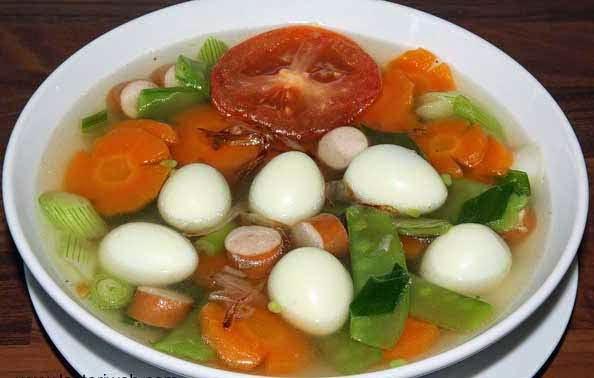Makanan Sehat, Makanan Utama, Sayuran, Sop, Telur Puyuh