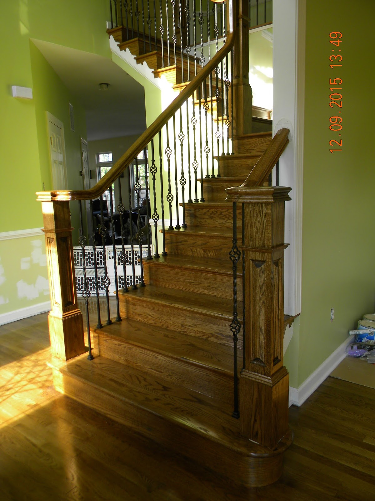 Oak Stair And Rail Remodel With Iron Balusters Egg Harbor Twp NJ