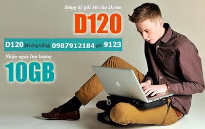 Đăng ký 3G Dcom D120 Viettel với 10GB data miễn phí