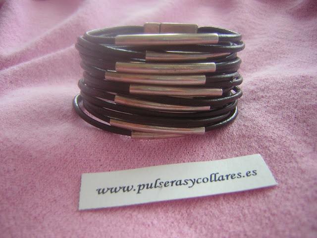 pulsera zamak, pulsera cuero, pulseras y collares
