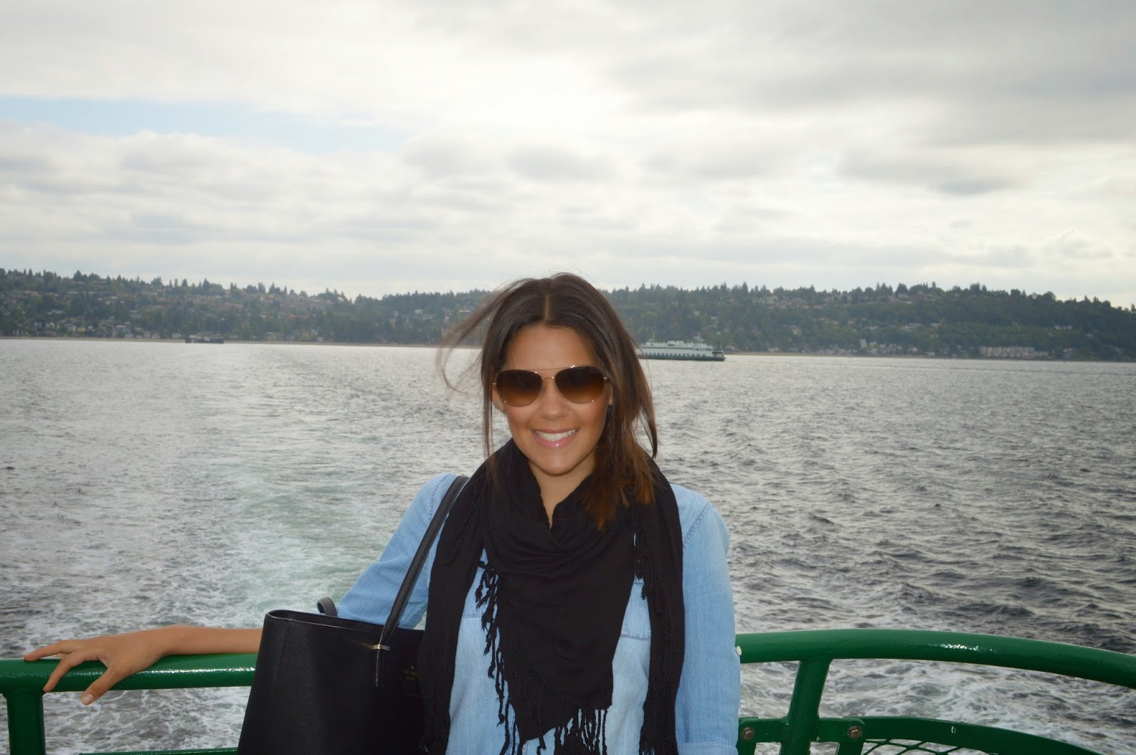 Marifer at the ferry from Seattle to Vashon island