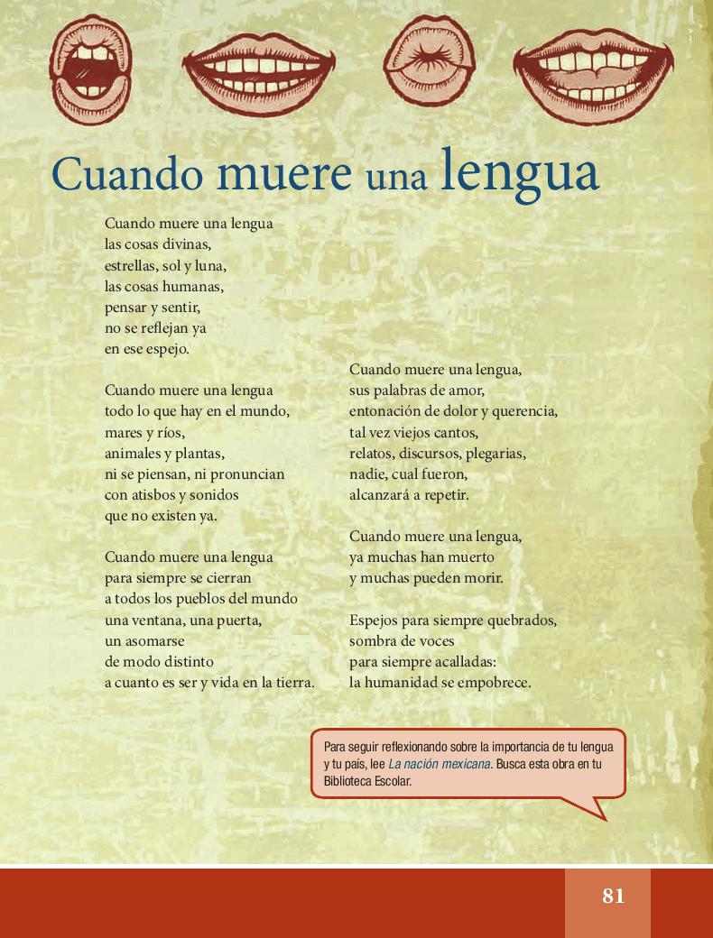 Ihcuac thalhtolli ye miqui / Cuando muere una lengua - Español Lecturas 6to 2014-2015