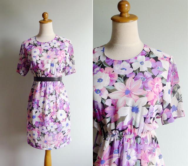 vintage 80's sheer pink floral dress