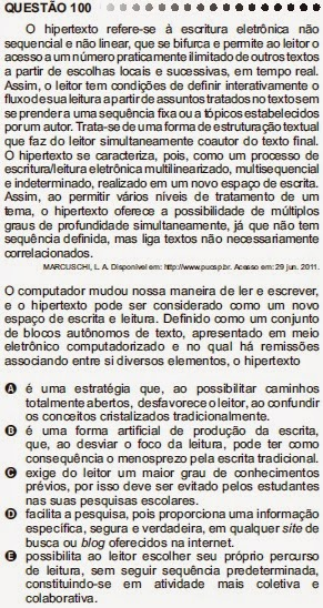 ANÁLISE - ENEM 2011 - QUESTÃO 100 - PROVA CINZA