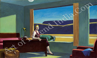 Appropriately for someone who enjoyed travelling so much, hotel rooms and lobbies were favourite subjects of Hopper's. The soullessness of the surroundings and the boredom and frustration of waiting provided him with ideal subject matter. Here he also conveys a feeling of tension, suggested by the woman's expression and rigid pose, but as usual he makes nothing explicit.