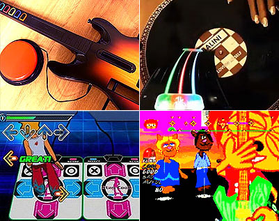 Four images of switch accessible games. Clockwise from top-left, being: Guitar Hero World Tour, (adapted guitar with large red accessibility switch). D.J. Hero 2. Um Jammer Lammy in one-button play mode. And Konami's Dancing Stage, a.k.a. Dance Dance Revolution.