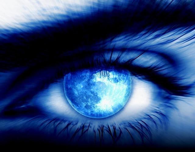 Olhar de luz azul com a Terra, arte digital