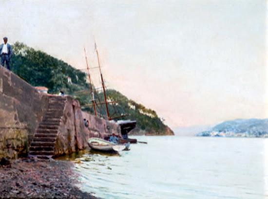 Barcos y figuras en la costa de Ribadeo, Juan Martínez Abades, Marinas de Martínez Abades, Pintor español