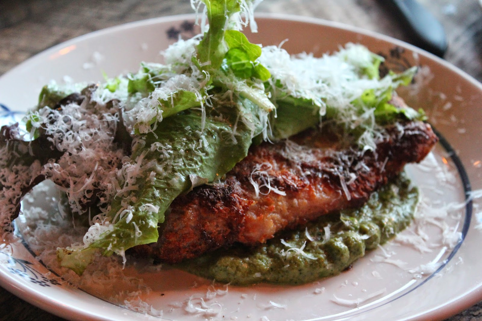 Smoked pork milanese with mushy peas at La Brasa, Somerville, Mass.