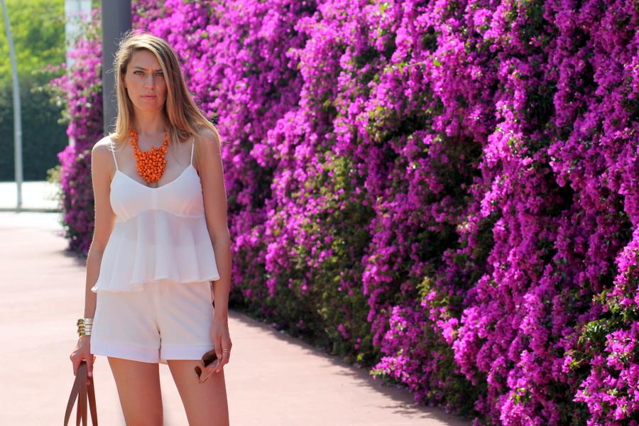 Bermuda blanca algodon Zara