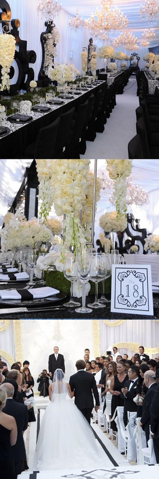 Decoração do altar e mesa do casamento de Kim Kardashian