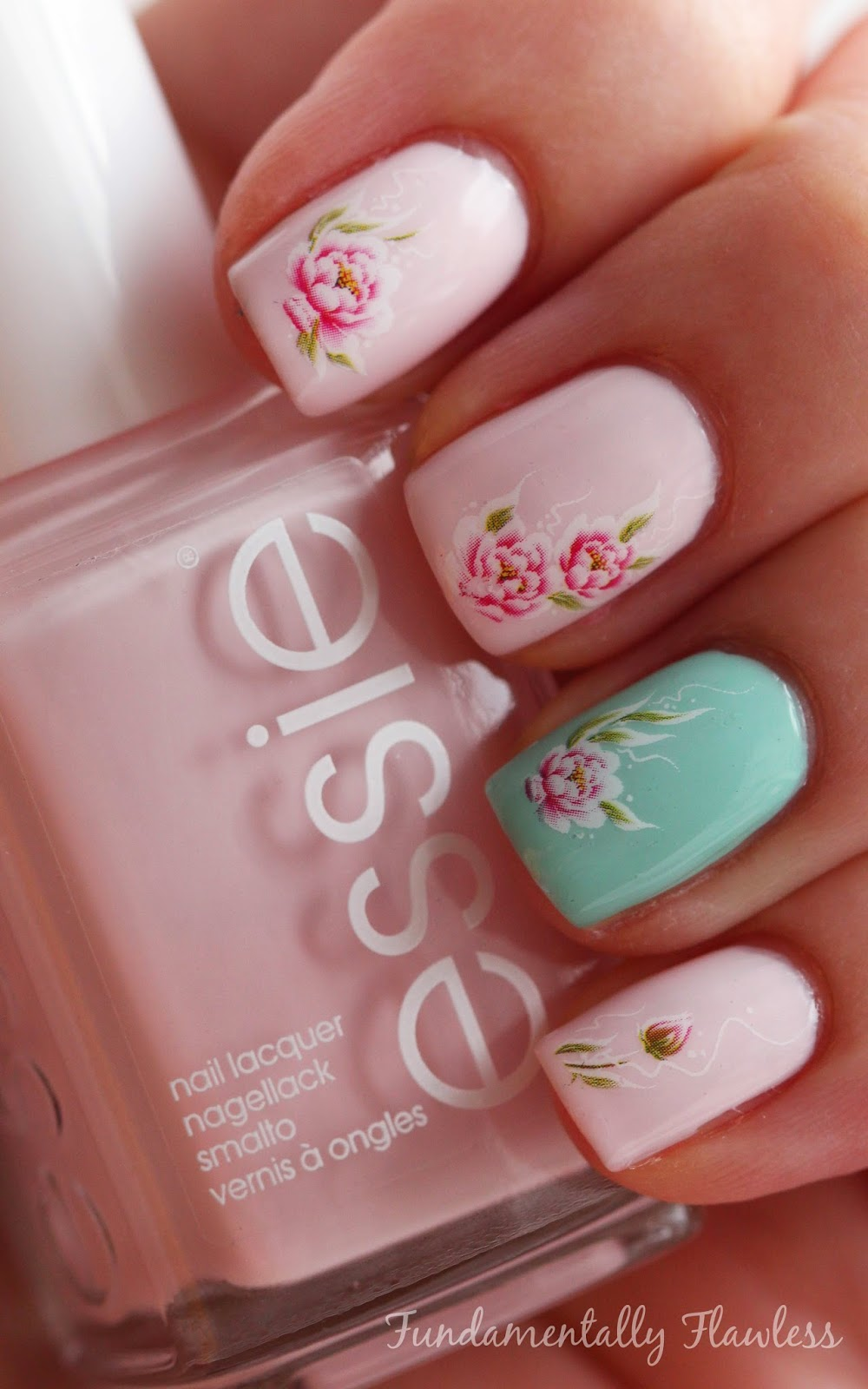 Born Pretty Store rose water decals with Essie Fiji