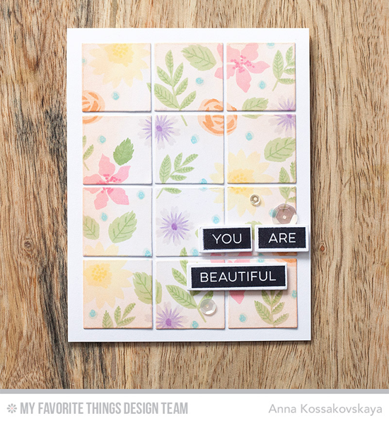 You Are Beautiful Card by Anna Kossakovskaya featuring the Label Maker Love stamp set, Mini Modern Blooms stamp set and Die-namics, and the Square Grid Cover-Up Die-namics #mftstamps