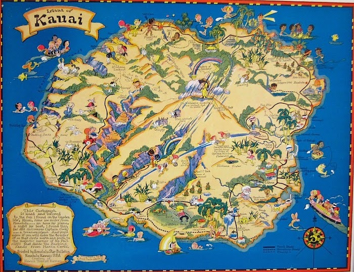 Jeni Sandberg Barking Sands Vintage Vintage Hawaiiana Ruth – Tourist Map Of Kauai