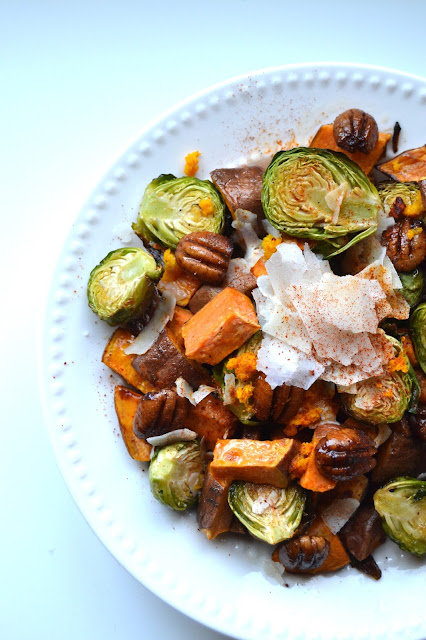 Orange Glazed Brussels Sprouts and Sweet Potatoes- the perfect mix of sweet and savory for any holiday meal! www.nutritionistreviews.com