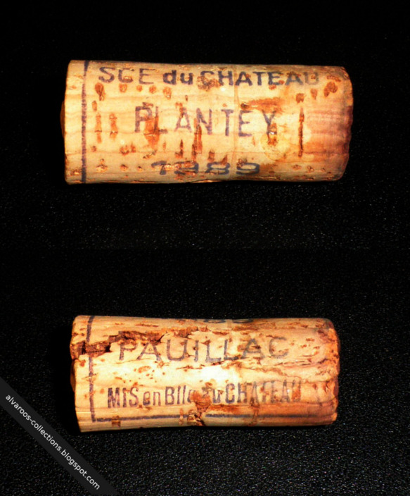 Destroyed wine cork: Chateau Plantey (Pauillac) 1989