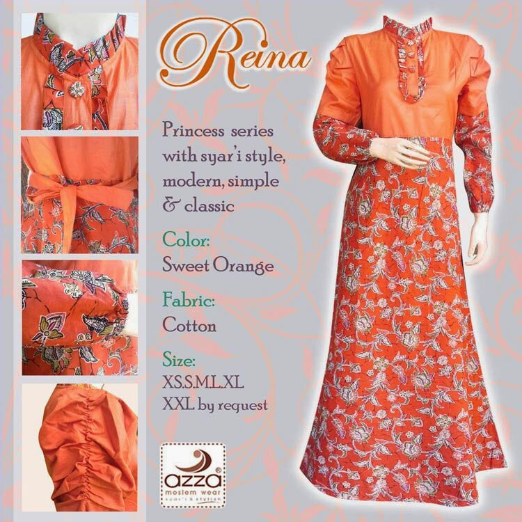 Jilbab Batik Princess Reina Sweet Orange