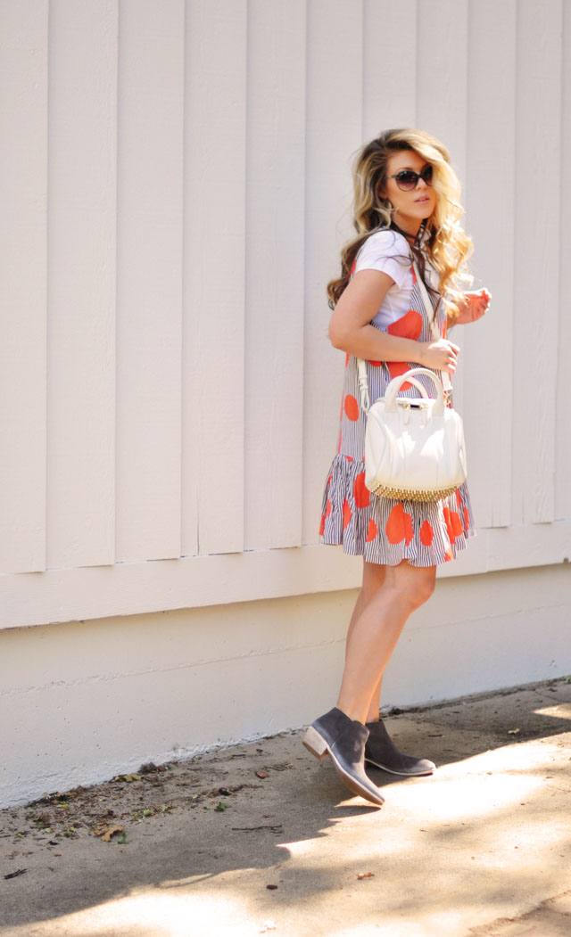 Summer dress over a t-shirt with boots
