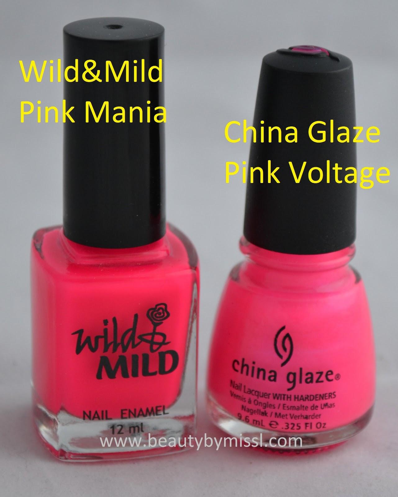wild&mild pink mania china glaze pink voltage
