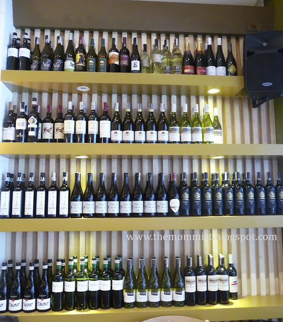 Shelf full of wines