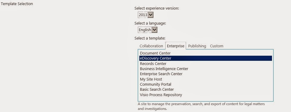 sharepoint 2013 template selection