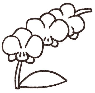 ラン・胡蝶蘭のイラスト(花) モノクロ線画