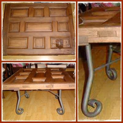 Dise o con antig edades reciclaje de una puerta como mesa - Mesas con puertas antiguas ...