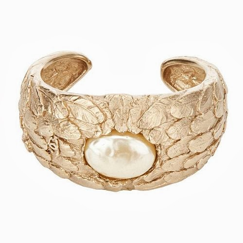 Chanel gold cuff with pearl