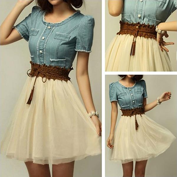 Elegant Denim Splicing Chiffon Dress