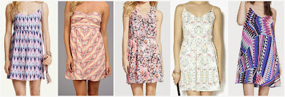 H&M Patterned Dress $9.95  Roxy Sunburst Dress $21.99 (regular $49.50)  Lush Kylie Print Skater Dress $27.60 (regular $46.00)  Vintage Havana Open-back Sundress $40  Express Printed Chiffon Trapeze Dress $41.94 (regular $69.90)