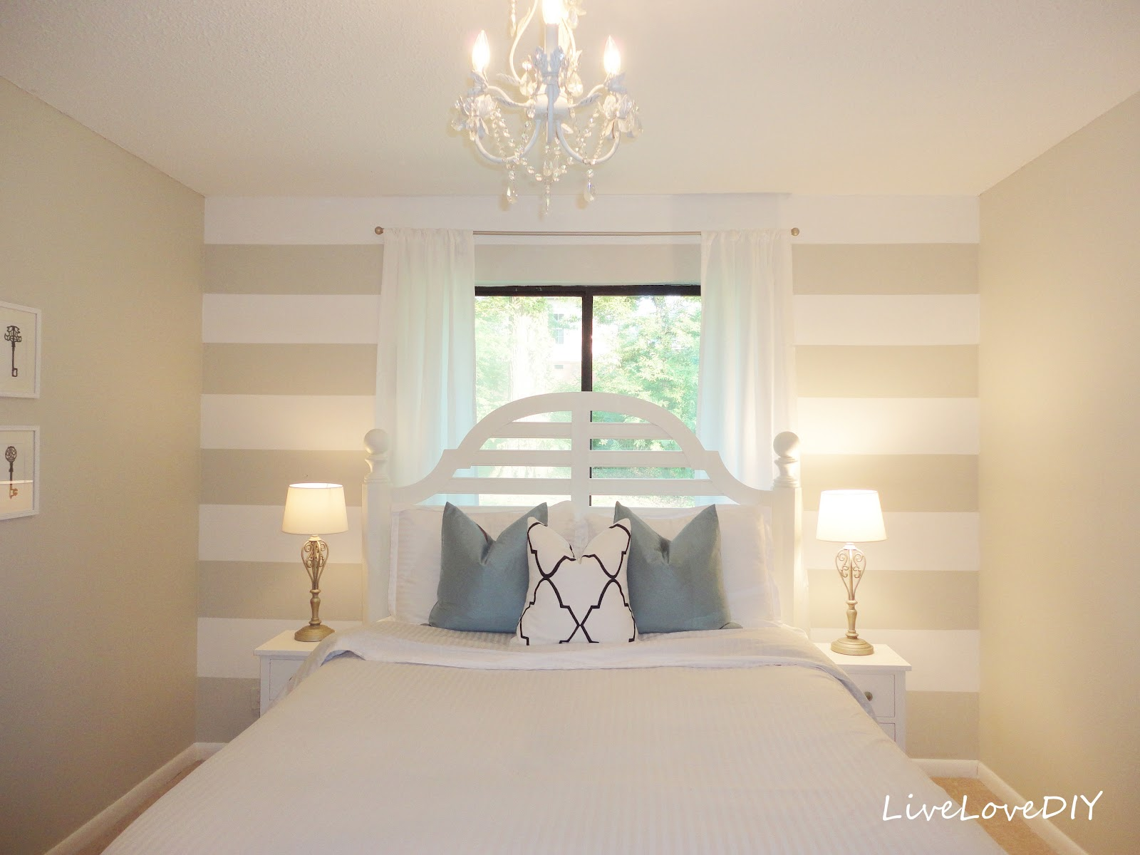 LiveLoveDIY DIY Striped Wall Guest Bedroom Makeover