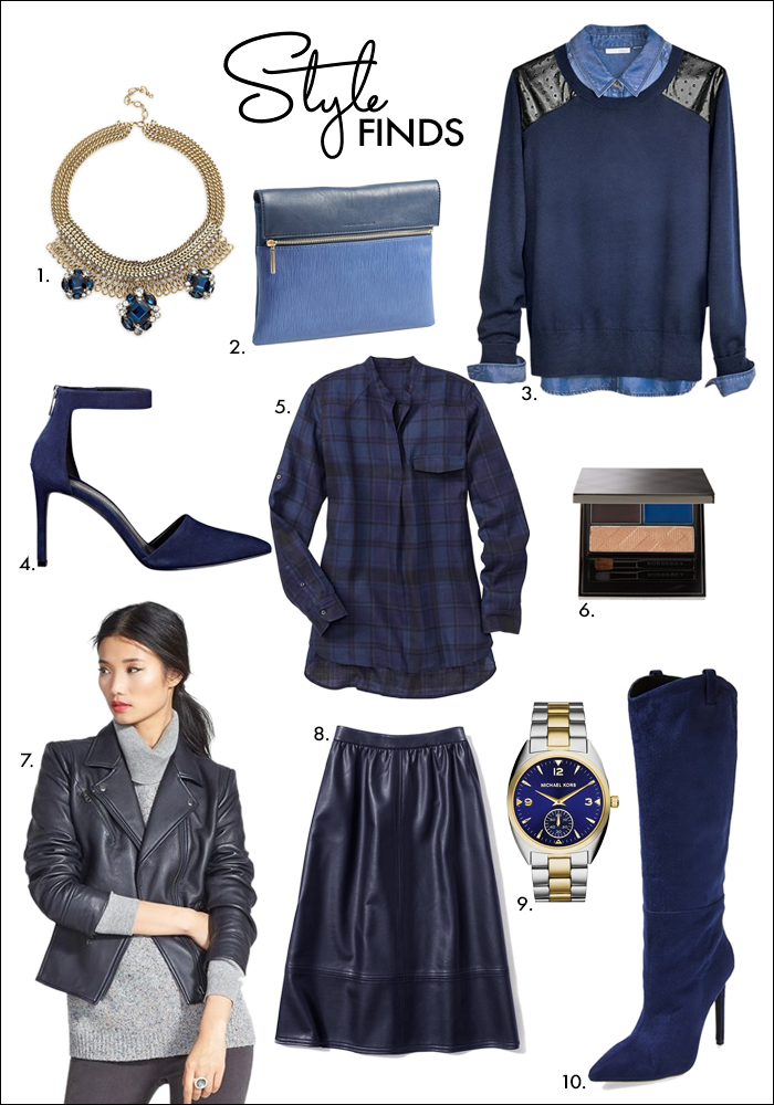 blue leather skirt, navy trend, wear to work, leater skirt, tall boots, work, fall
