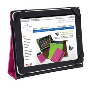 iPad Case with Stand, Crocodile Leather, Pink, Green
