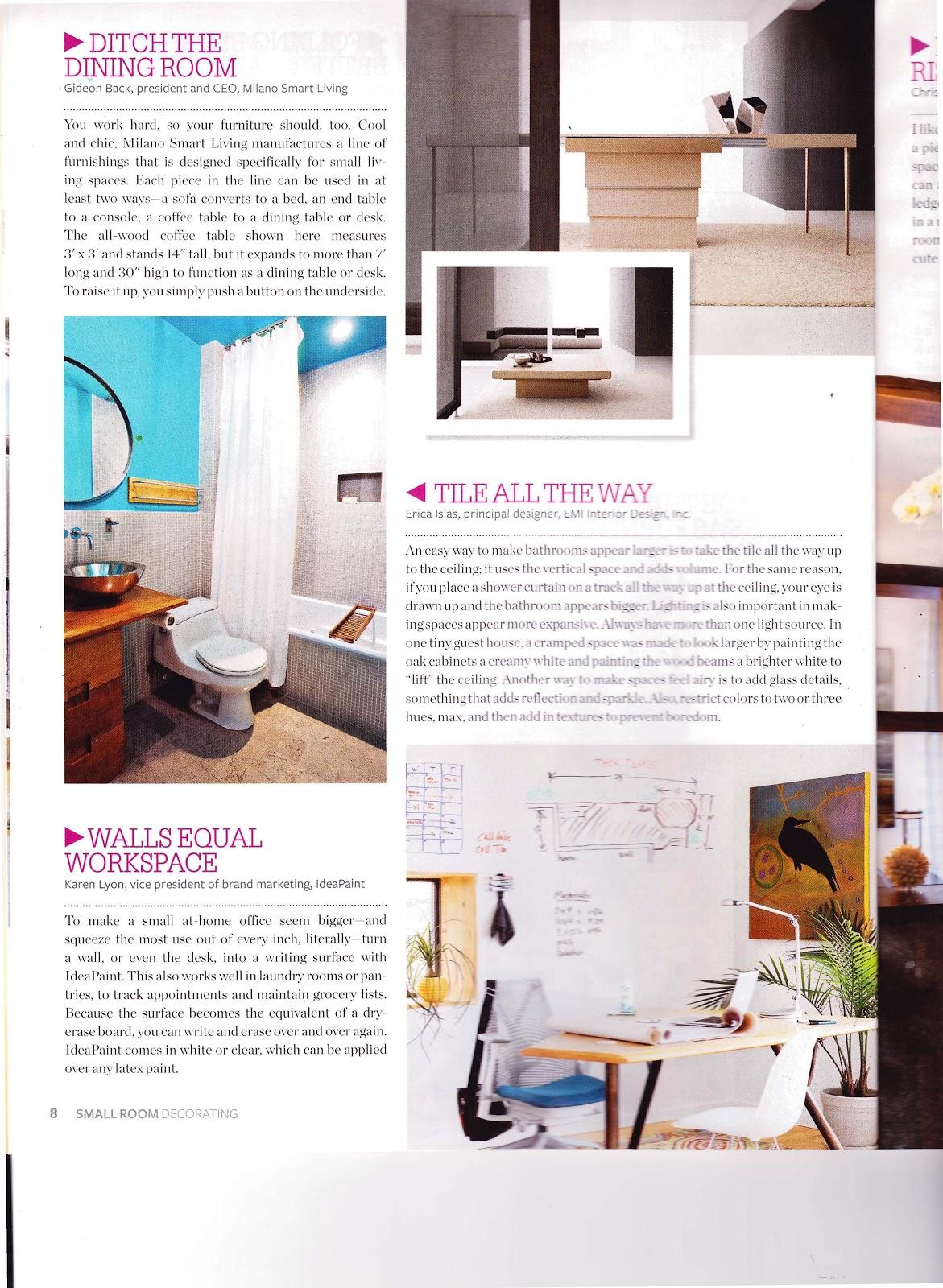EMI Interior Design, Inc: Small Room Decorating Magazine 2013