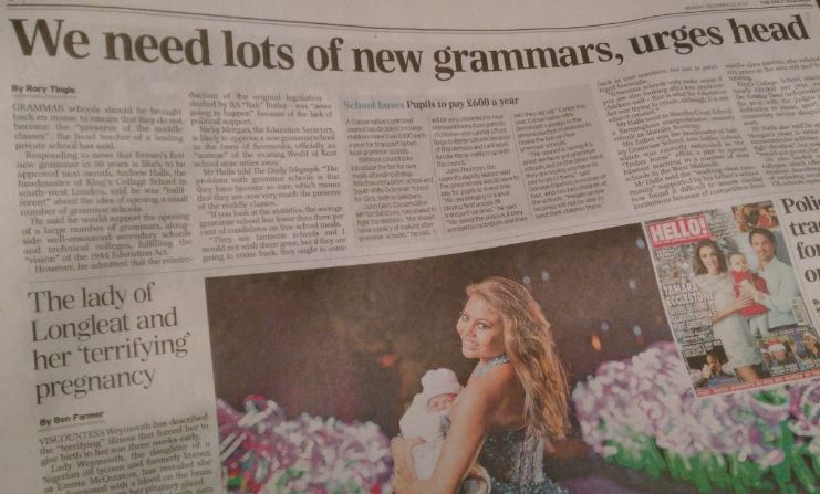 Telegraph: Grammar schools exclusive