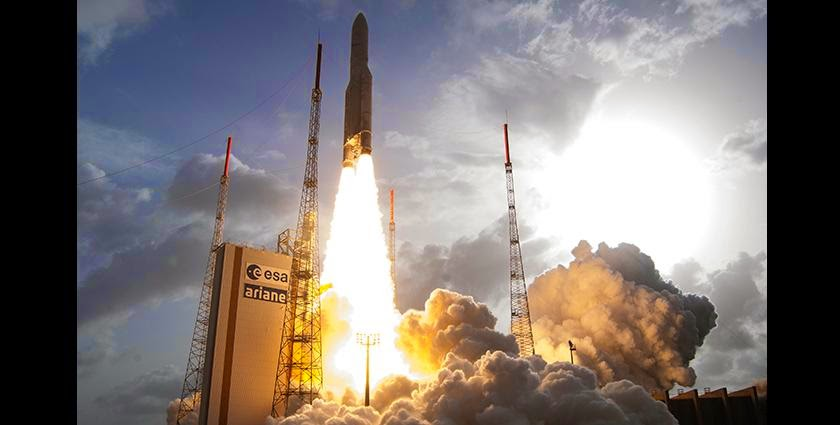 Arianespace's workhorse Ariane 5 launcher lifts off from French Guiana on its 64th consecutive successful mission, which deployed the THOR 7 and SICRAL 2 satellites. Credit: Arianespace